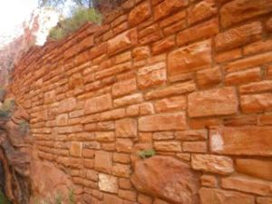 The tight switchbacks are held in place with these beautiful sandstone walls.