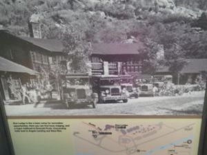 Photo of the original Zion Lodge, which burned down and was quickly rebuilt. The current lodge has guest cabins and a café.