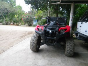 ATVs are a very popular mode of transportation on Isla. People bring them over on the pangas!