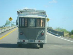 I saw this weird truck (RV?) as I was getting on the road. From the front and side, it looks like a UPS-type truck.