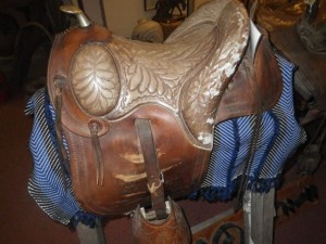 A ladies saddle designed for the rough trails of the area not suited to a side saddle.
