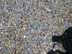 Amazing driveway made of... broken glass? Lots of colours.