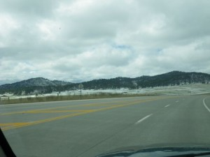 Snow on the ground as I get closer to Keystone.