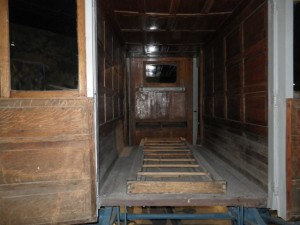 Interior of the horse-drawn ambulance.