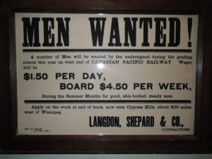 Work for $1.50 a day building the railroad... but give up three days' wages for room and board.